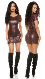 Sexy KouCla Wetlook Mini dress with 2Way Zip Bordeaux
