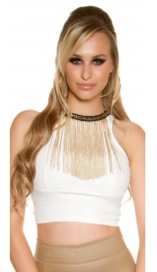 Sexy KouCla Crop Top leather look with deco chain White