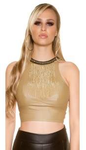 Sexy KouCla Crop Top leather look with deco chain Beige