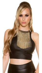 Sexy KouCla Crop Top leather look with deco chain Black