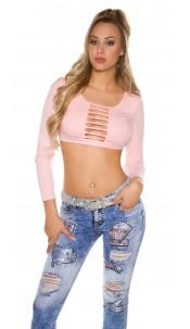 Sexy lange mouw crop shirt met uitsparingen roze