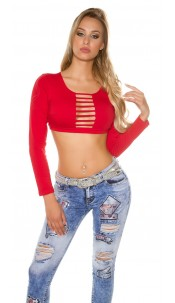 Sexy KouCla long sleeve Crop shirt with cut outs Red