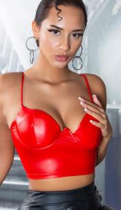 Sexy Koucla Wetlook Bustier / Cropped Top Red