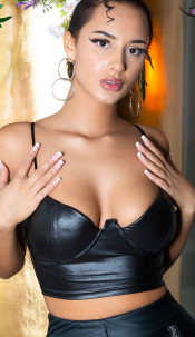 Sexy Koucla Wetlook Bustier / Cropped Top Black