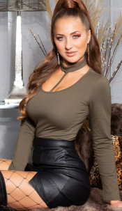 Sexy basic langmouw shirt khaki