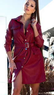 Sexy faux leather dress with belt Bordeaux