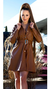 Sexy faux leder jurk met riem bruin