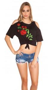 Trendy Coldshoulder Shirt with XL patch Black