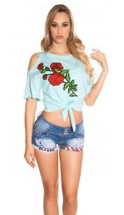 Trendy Coldshoulder Shirt with XL patch Mint