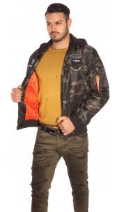 Trendy Camo Bomber jacket with detachable hood Army