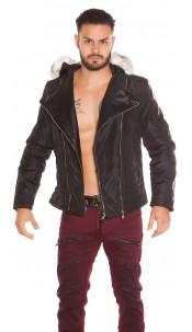 Trendy bikerlook jacket with removable fake fur Black