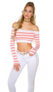 Sexy long sleeve Crop shirt, striped Coral