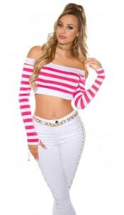 Sexy long sleeve Crop shirt, striped Fuchsia