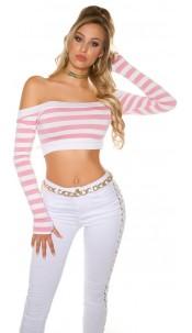 Sexy long sleeve Crop shirt, striped Pink