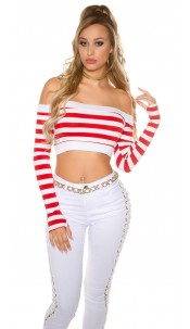 Sexy long sleeve Crop shirt, striped Red