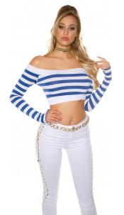 Sexy long sleeve Crop shirt, striped Royalblue