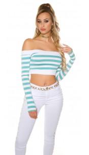 Sexy long sleeve Crop shirt, striped Sapphire