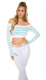 Sexy long sleeve Crop shirt, striped Turquoise