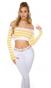 Sexy long sleeve Crop shirt, striped Yellow
