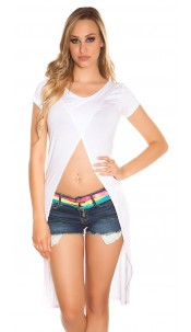 Sexy High Low Crop Shirt wrap look White