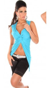 Sexy crop shirt with wrap-look Turquoise
