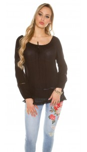 Trendy summer shirt with lace Black