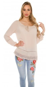 Trendy summer shirt with lace Cappuccino