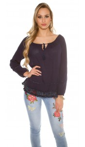 Trendy summer shirt with lace Navy