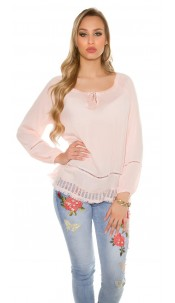 Trendy summer shirt with lace Salmon