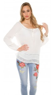 Trendy summer shirt with lace White