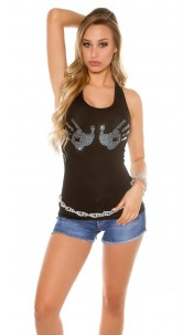 Sexy Tanktop with Glitter-Hand-Patches Black