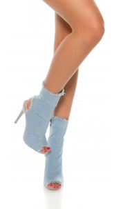 Sexy Jeans Peeptoe Ankle Boot Jeansblue