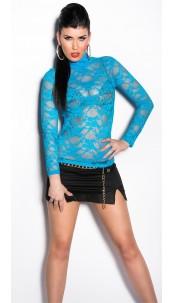 Sexy Longsleeve-shirt transparent Turquoise