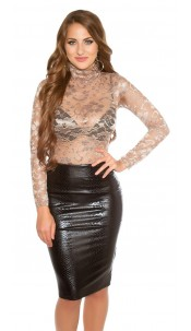 Sexy Koucla lace longsleeve with turtleneck Cappuccino