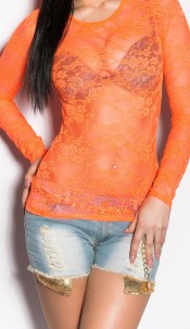 Sexy laced-Longsleeve in Neon Neoncoral