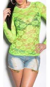 Sexy laced-Longsleeve in Neon Neongreen