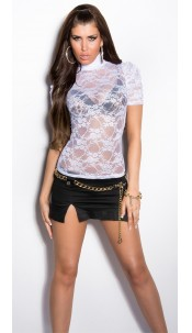 Sexy KouCla T-Shirt in lace White