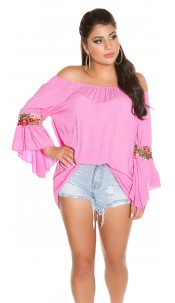 Trendy Carmenshirt with flounce & embroidery Fuchsia