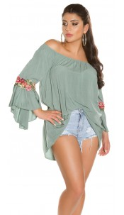 Trendy Carmenshirt with flounce & embroidery Khaki