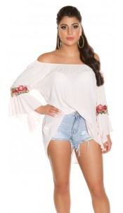 Trendy Carmenshirt with flounce & embroidery Pink