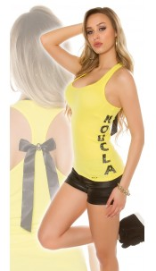 Sexy KouCla tank top with bow and skull Yellow