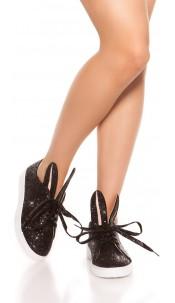 Trendy Glitter Sneakers Black