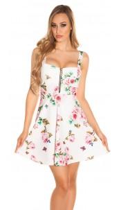 Sexy strap minidress with floral print White