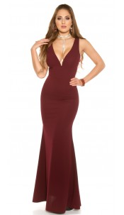 Red-Carpet-Look! Sexy evening gown with V-Neck Bordeaux