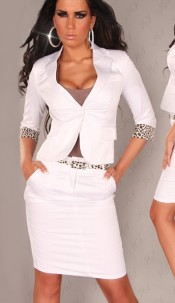 Sexy Blazer with 7/8-sleeves and Leoband White