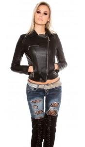 Sexy KouCla biker look jacket wiht zips Black