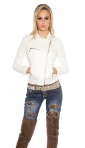 Sexy KouCla biker look jacket wiht zips White