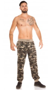 Trendy men joggers in camouflage Cappuccino