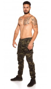 Trendy men cargo pants in camouflage Khaki