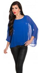 синяя шифоновая блузка фото